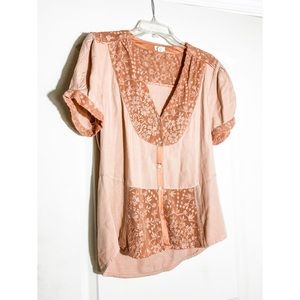 ANTHROPOLOGIE 'TINY' Pink Top with Floral Detail